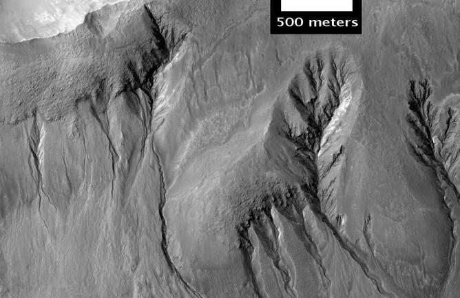 Dry Ice or Flowing Water on Mars Surface